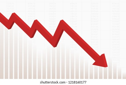 abstract financial chart with red color 3d downtrend line graph go down in stock market on gradient white color background
