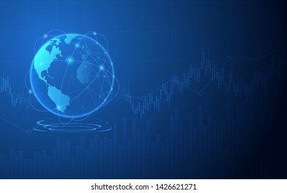 Abstract financial chart in stock market and digital wireframe globe on blue color background