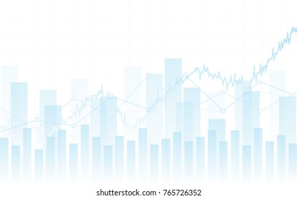 Abstract financial chart with trend line graph and bar chart in stock market on white color background