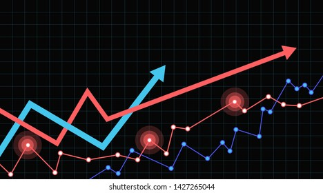 Abstract financial chart  two arrows going up. Black background.