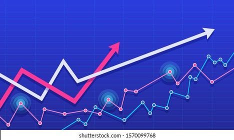 Abstract financial chart with the two arrows going up