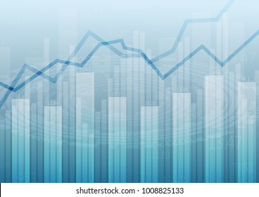 abstract financial chart with uptrend line graph and numbers in stock market.Vector  illustration.