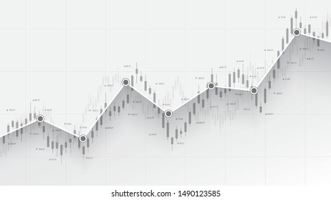 Abstract financial chart with uptrend line candlestick graph in stock market on black and white color background