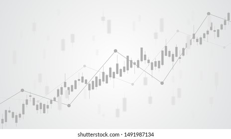Abstract financial chart with uptrend line graph in stock market on black and white color background