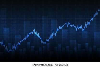 Abstract financial chart with uptrend line graph, bar chart and stock numbers in bull market on blue color background (vector)