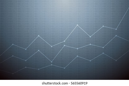Abstract financial chart with uptrend line graph and stock numbers in bull market on gray color background (vector)