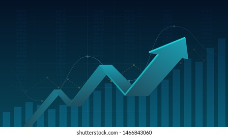 Abstract financial graph with uptrend line graph and arrows in stock market on blue color background