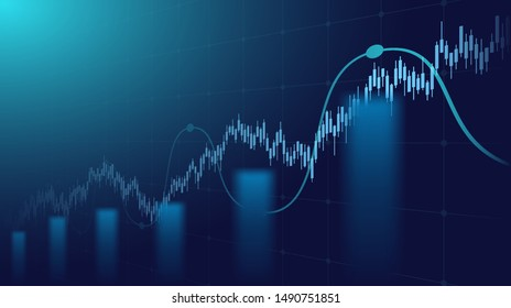 Abstract financial graph with uptrend line and bar chart of stock market on blue color background
