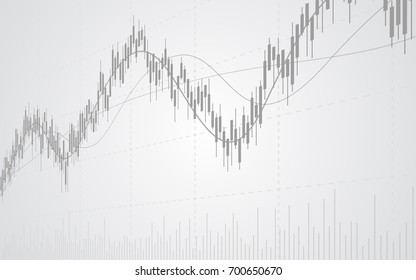 abstract financial with line graph and bar chart in stock market on gradient gray color background