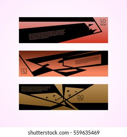 Abstract fine art faces banners design template. Can be used as barber shop design, hair saloon design, speech banners. Illustration, Vector eps10.