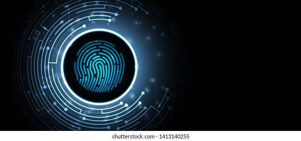 Abstract fingerprint technology business background. Circuit security style. Digital identify