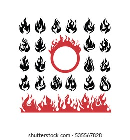 Abstract Fire Flame Hot Burning Symbol Illustration