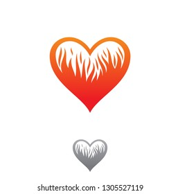 Abstract fire love icon symbol for graphic and web design. Heart icon isolated on white background. Vector illustration EPS.8 EPS.10