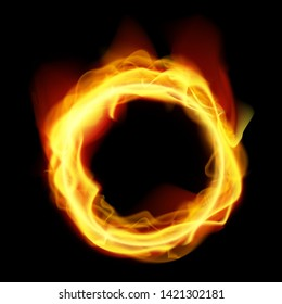 Abstract Fire Ring On Black Backround. EPS10 Vector