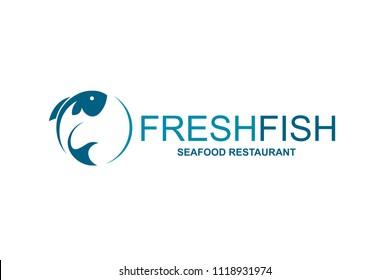 abstract fish icon restaurant menu design
