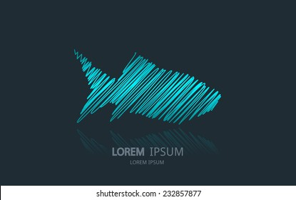 Abstract fish logo. Vector logotype design.