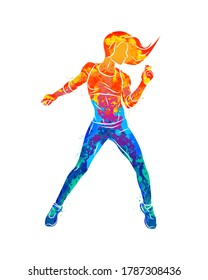 Abstract fitness instructor. Young woman zumba dancer dancing fitness exercises. Hip hop dancer from splash of watercolors. Vector illustration of paints