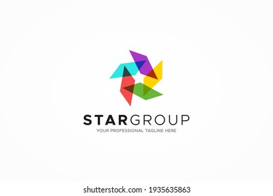 Abstract Five Star Logo. Colorful Geometric Shape Star Icon Origami Style isolated on White Background. Usable for Business and Technology Logos. Flat Vector Logo Design Template Element.