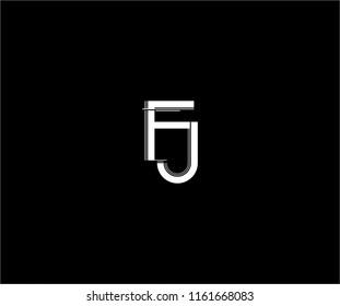 abstract FJ linked monogram stripe line logo design
