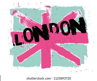 Abstract flag of england. The print of London fashion. Prints for T-shirts, clothes, posters, wallpapers, cases, web, notebooks, textiles, fabrics.