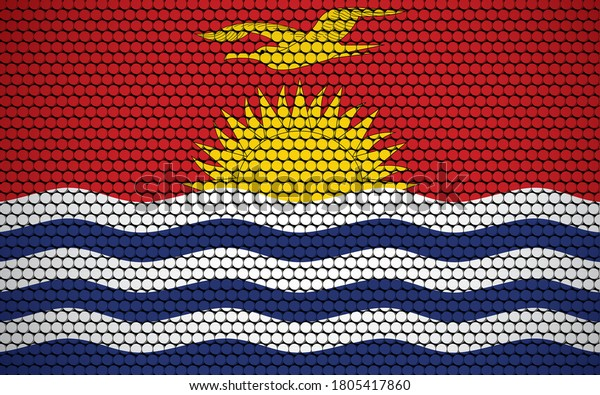 Abstract flag of Kiribati made of circles. I-Kiribati flag designed with colored dots giving it a modern and futuristic abstract look.