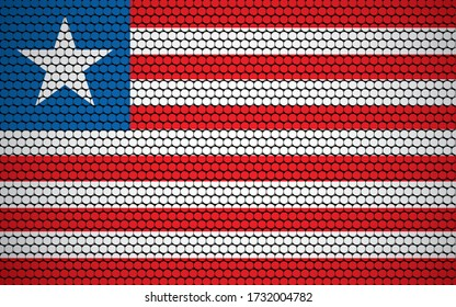 Abstract flag of Liberia made of circles. Liberian flag designed with colored dots giving it a modern and futuristic abstract look.