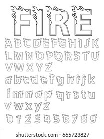 Abstract flame alphabet font. Type letters and numbers fire concept design. line black shape on white background. Vector typeface for your design.