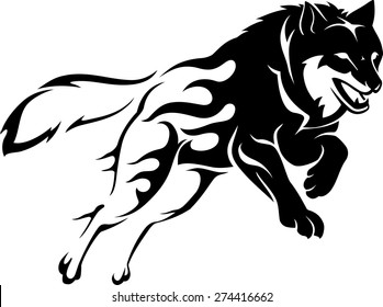 Abstract Flame Leaping Wolf