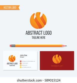 Abstract flame sphere logo design and business card vector template.