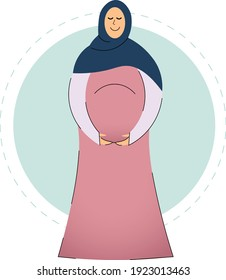 Abstract flat arabic muslim preagnant woman mother holding baby, wearing beautiful hijab and fashion abaya. Period of preagnancy islamic illustration from UAE or Saudi Arabia