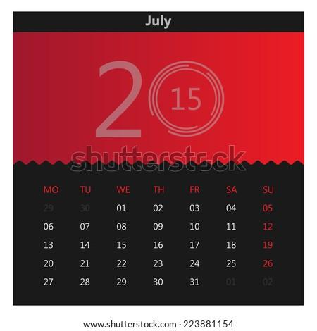 Abstract Flat Calendar 2015 July Stock Vector Royalty Free