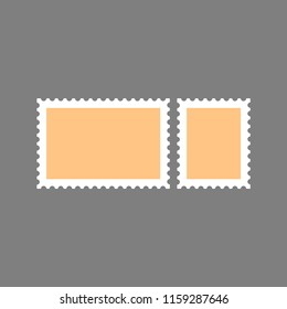 Abstract flat design blank postage vector stamp. Isolated color illustration of a post vintage retro sticker