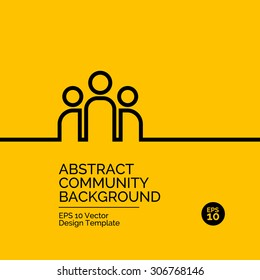 Abstract flat design concept with community team illustration on yellow background. Vector collection