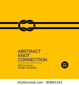 Abstract flat design concept with knot connection on yellow background. Vector illustration
