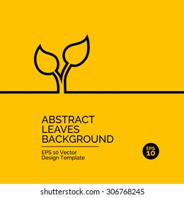 Abstract flat design concept with plant illustration on yellow background. Vector collection