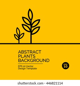 Abstract flat design concept with plants illustration on yellow background. Vector collection
