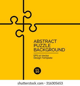 Abstract flat design concept with puzzle illustration on yellow background. Vector collection