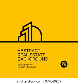 Abstract flat design concept with real estate illustration on yellow background. Vector collection