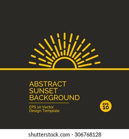 Abstract flat design concept with sunset or sunrise illustration on yellow background. Vector collection