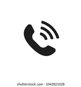 Abstract flat design simple vector ringing phone icon. Telephone symbol isolated on a white background illustration