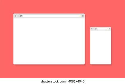 Abstract flat design vector smartphone, tablet, desktop browser