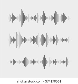Abstract flat design vector sound waves collection. Equalizer technology vibration set.