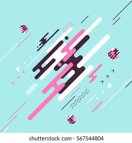 Abstract flat dynamic background design. Movement of simple geometric shapes. Vector illustration