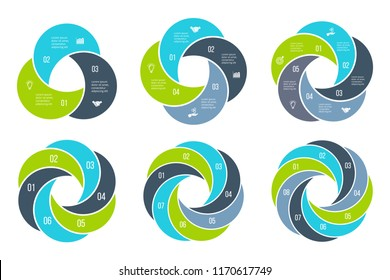 Abstract flat elements of cycle diagram with 3, 4, 5, 6, 7 and 8 steps, options, parts or processes. Vector business template for presentation. Creative concept for infographic.