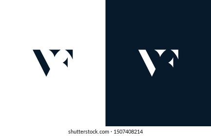 Abstract flat letter VF logo. This logo icon incorporate with abstract shape in the creative way.