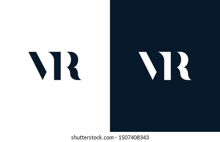 Abstract flat letter VR logo. This logo icon incorporate with abstract shape in the creative way.