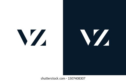 Abstract flat letter VZ logo. This logo icon incorporate with abstract shape in the creative way.