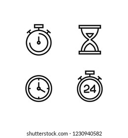 Abstract flat line style time and clock vector icon set on a white background