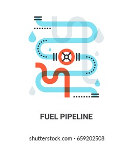 Abstract flat line vector illustration of fuel pipeline concept
