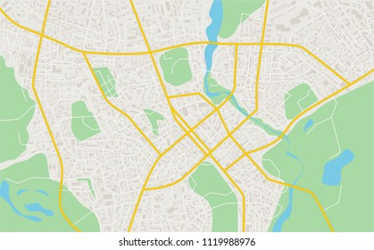 Abstract flat map of city. plan of town. Detailed city map. Vector illustration